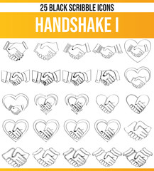Scribble Black Icon Set Handshake I
