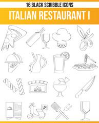 Scribble Black Icon Set Italian Restaurant I