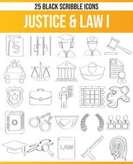 Scribble Black Icon Set Justice & Law I