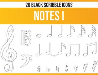 Scribble Black Icon Set Notes I
