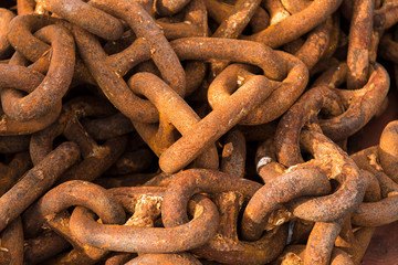 Detail Of Massive Rusty Chain In A Harbor