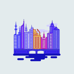 Modern flat illustration with colorful city landscape flat on white background. Flat design vector illustration.Modern urban landscape.