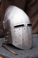 Iron helmet of the medieval knight