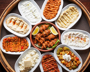 Arabic food, Meze - Delicious humus plate, beautifully arranged vegetarian oriental spreads