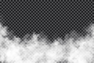 Smoke clouds on transparent background. Realistic fog or mist texture isolated on background. Transparent smoke effect Fototapete