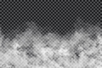 Aluminium Prints Smoke Smoke clouds on transparent background. Realistic fog or mist texture isolated on background. Transparent smoke effect