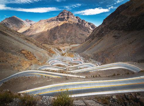 Serpentine road at Andes Mountain between Santiago de Chile and Mendoza, Argentina