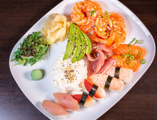 Sushi Roll with salmon fish most famous Japanese food