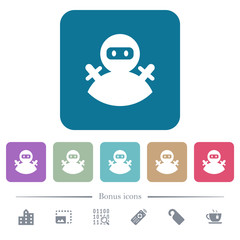 Ninja avatar flat icons on color rounded square backgrounds