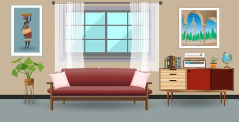 Retro colorful living room interior design. Flat style vector illustration