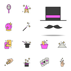 magician's hat and mustache icon. magic icons universal set for web and mobile