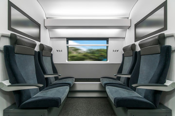 Emtpy interior of the fas train for long and short distance with tv on the wall