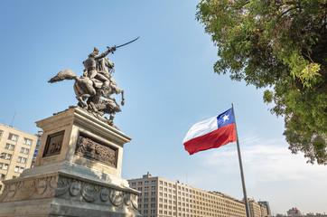 Bernando O'Higgins General Statue at Bulnes Square and Bicentenario Chilean flag - Santiago, Chile
