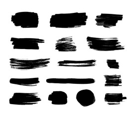 Vector Black Ink Set, Isolated on White Background,  Brush Strokes.