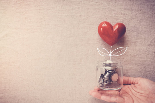 Hand holding a jar of heart tree growing on money coins,charity, social responsible business and donation, fundrasing, relief plan concept
