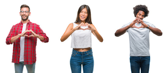 Collage of group of Chinese, african american, hispanic people over isolated background smiling in love showing heart symbol and shape with hands. Romantic concept.