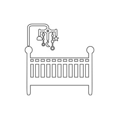 cot with toys icon. Element of cyber security for mobile concept and web apps icon. Thin line icon for website design and development, app development
