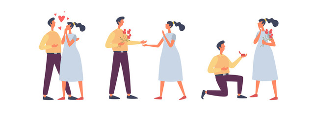 A set of characters in different poses for Valentine's Day. Happy couple in love. A young man gives a wedding ring and flowers to his girlfriend. Vector flat illustration.