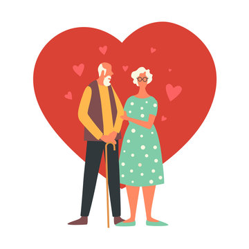 Happy Valentine's Day. Holiday of all lovers. An elderly man and woman are standing against a red heart. Vector flat illustration isolated on white background.