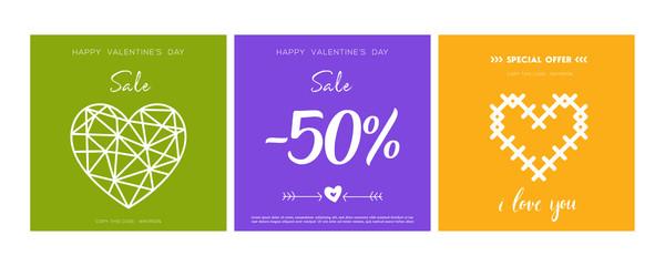 Valentine's day card. poster, card, label, banner design set. Green banner design. Gift voucher. - vector