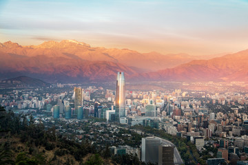 Aerial view of Santiago skyline at sunset - Santiago, Chile