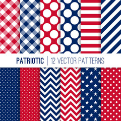 Patriotic Red, White and Blue Seamless Vector Patterns in Stars, Stripes, Chevron, Polka Dot and Gingham. 4th of July Independence Day Background. Vector Pattern Tile Swatches Included.
