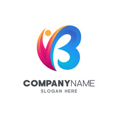 initial letter B with people shape, logo design template
