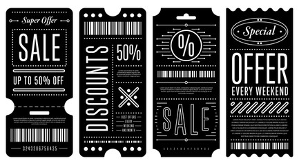Set of four black discount coupons with various white writings