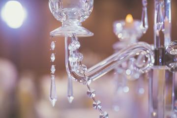 Night restaurant interiors and decorations close up