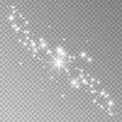 Star dust, thousands of brilliant lights. Star dust blue. Cosmic dust, on a transparent background.Christmas flash dust. Vector illustration.