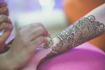Indian bride's henna mehendi close up