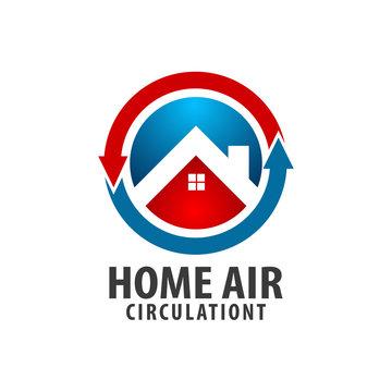 Circle arrow Home Air circulation logo concept design. Symbol graphic template element