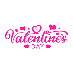 Happy Valentines Day, beautiful inscription isolated on white background. Handwritten, calligraphic text Valentine's Day. Vector Illustration - Vector
