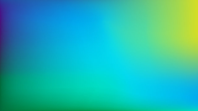 Blue to Lime Green Blurred Vector Background. Navy Blue, Turquoise, Yellow, Green Gradient Mesh. Trendy Out-of-focus Effect. Dramatic Saturated Colors. HD format Proportions. Horizontal Layout.
