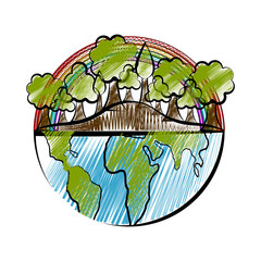 Isolated sketch of a half earth with a trees and rainbow. Vector illustration design