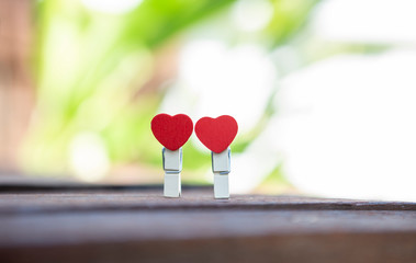 Two wooden red hart clip over blurred green garden, outdoor day light, valentine concept
