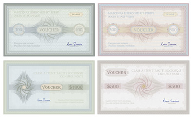 Voucher coupon check gift banknotes guilloche security money card template collection vector
