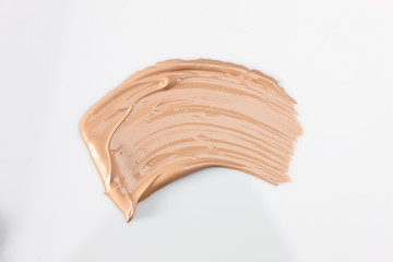 Shades Of Foundation On White Background. Makeup Product Texture.