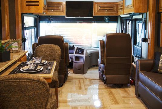 Toronto, Ontario, Canada - 3 july 2015: Camping van interior cabin. RV interior