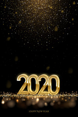 2020 New Year luxury design concept. Vector golden 2020 New Year vertical template with falling golden snow.
