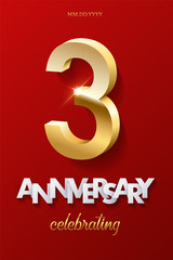 3 golden number and Anniversary Celebrating text on red background. Vector third anniversary celebration event invitation template.