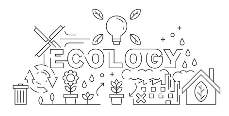 Ecology Theme of  Line Art Design. Eco Friendly Concept Illustration. Black and White Vector. Save The World for a Better Day. Background, Banner, or Landing Page Design. Youth Doodle Style