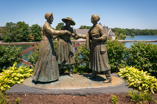 Susan B. Anthony, Elizabeth Cady Stanton, and Amelia Bloomer statue in Seneca Falls, NY
