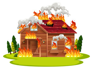 Cabin wooden house on fire
