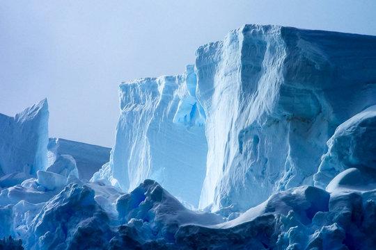 Antarctic icebergs in the waters of the ocean