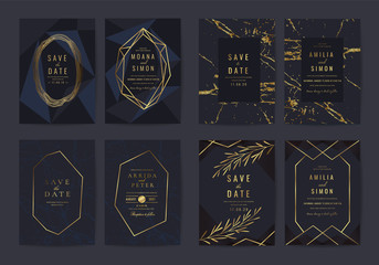 Wall Mural - Wedding invitation cards collection with indigo marble texture background and Copper gold geometric  line design vector.