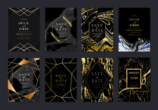 Wedding invitation cards collection with indigo marble texture background and Copper gold geometric  line design vector.