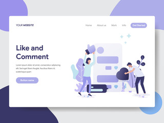 Landing page template of Like and Comment Illustration Concept. Modern flat design concept of web page design for website and mobile website.Vector illustration