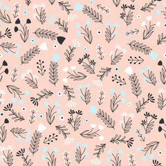 Fototapete - Seamless pattern with small flowers