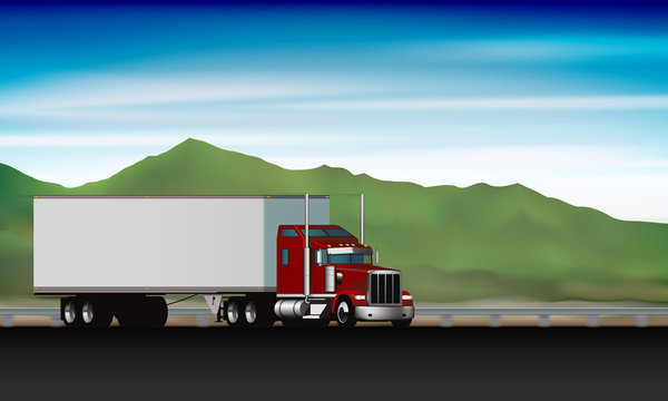 Classic truck driving on highway on background of green hills and sky, big rig semi truck with dry van on the road, vector illustration